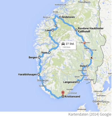 Roadtrip Karte Norwegen