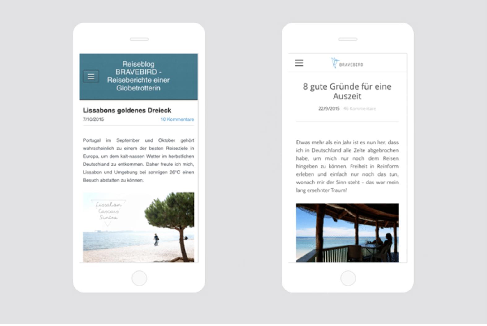 Links: Unattraktive mobile Ansicht eines Standard-Themes -- Rechts: Gute Optik durch responsive, aber nicht bei jedem Theme zu haben