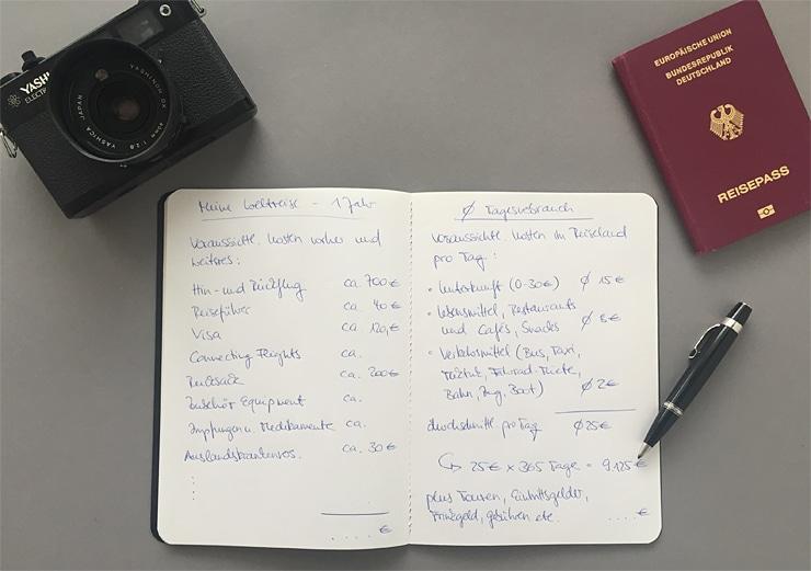 Weltreise Planung Geld