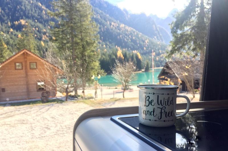 Toblacher See - Kaffee am Morgen Campingplatz - Reiseblog Bravebird