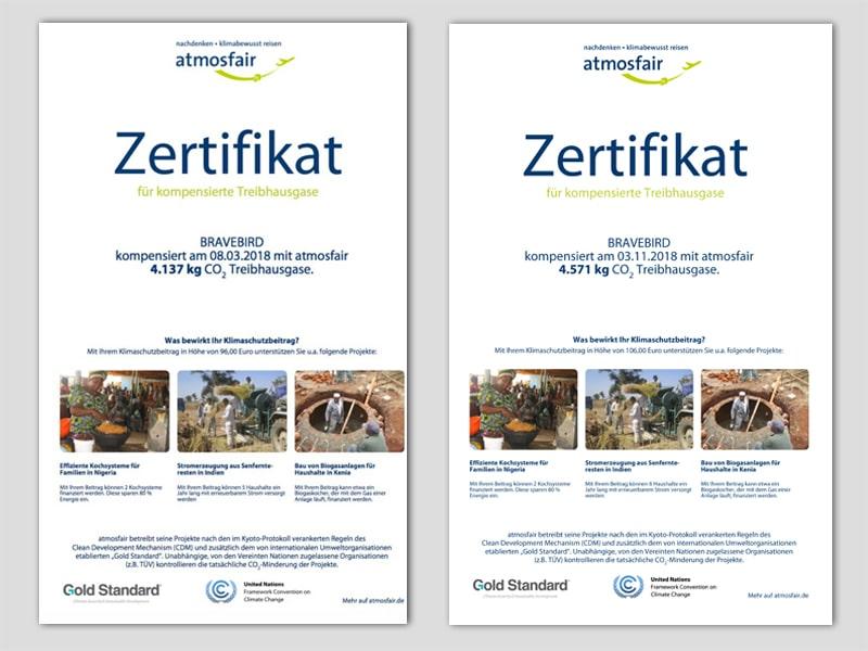 Zertifikate Atmosfair - CO2 Kompensation von Flügen - Reiseblog Bravebird