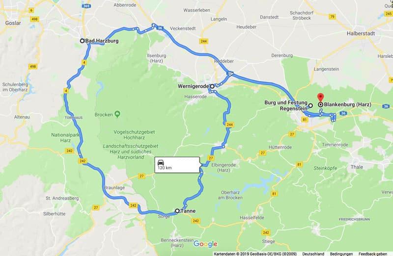 Reiseroute rund um den Brocken im Harz - Reiseblog Bravebird
