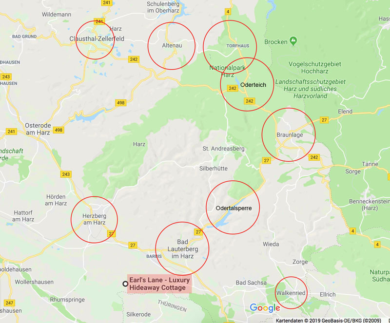 Reisekarte Harz - Reiseblog Bravebird