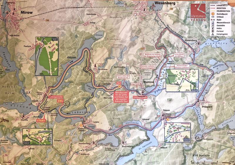 3 Kanutouren Mecklenburgische Kleinseenplatte - Karte - Reiseblog Bravebird