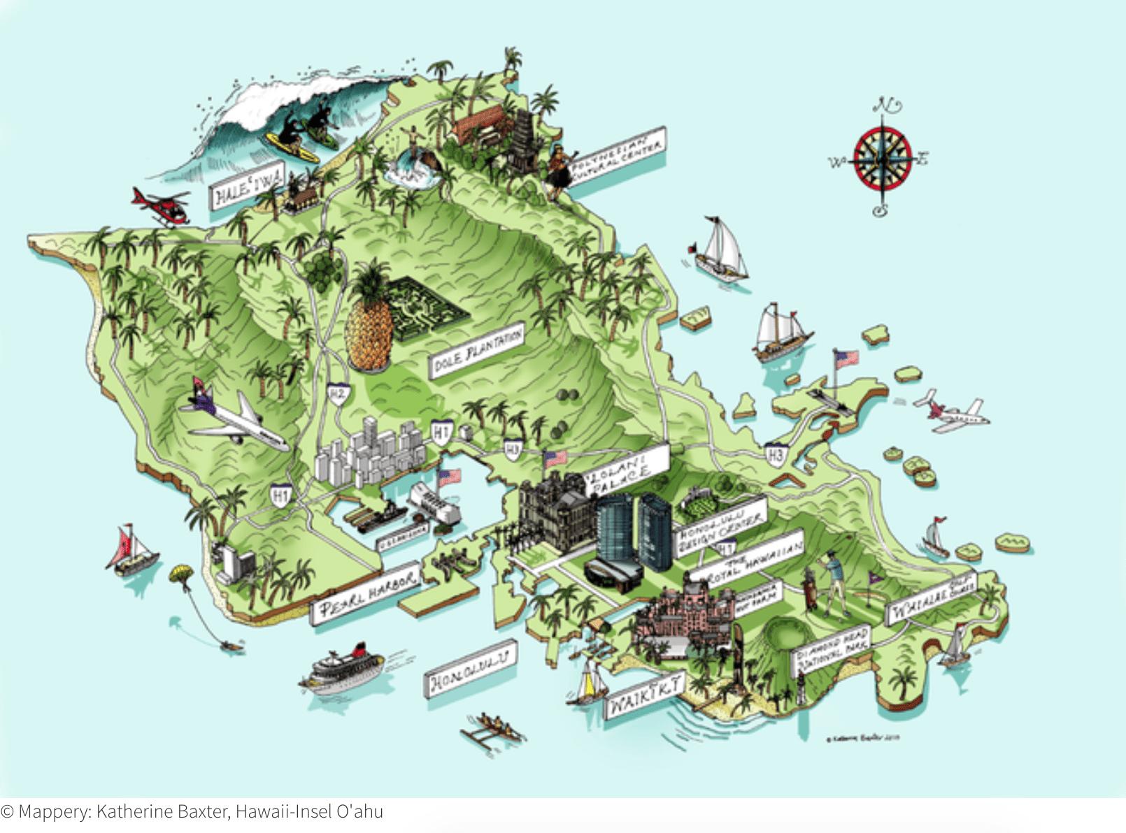 Hawaii Karte O'ahu