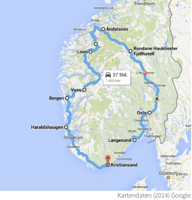 Roadtrip Karte Norwegen