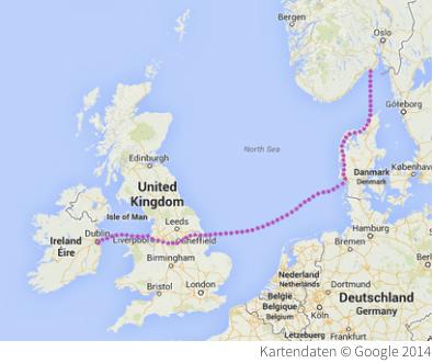 Frachtschiff England Dänemark Route