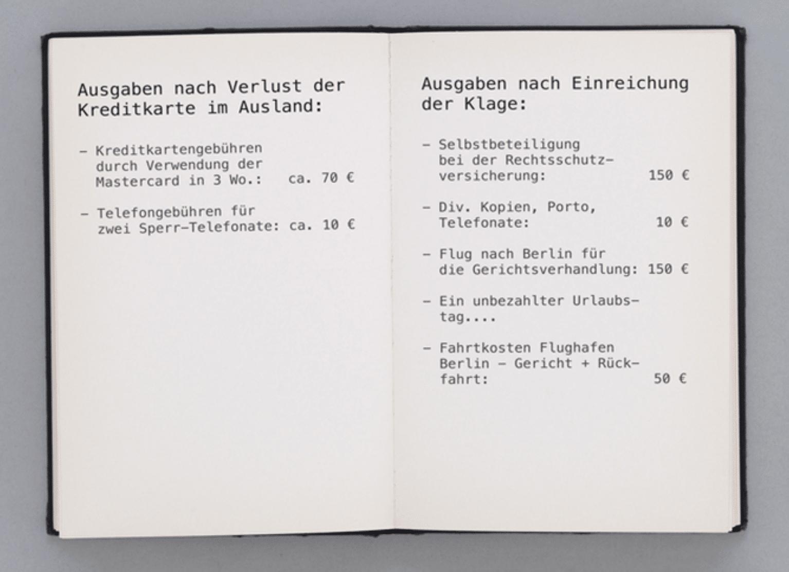Ausgaben einer Klage Berlin DKB