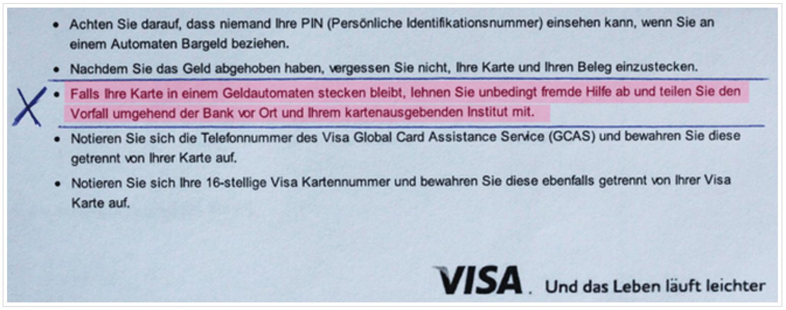 VISA Bestimmungen Kreditkarte